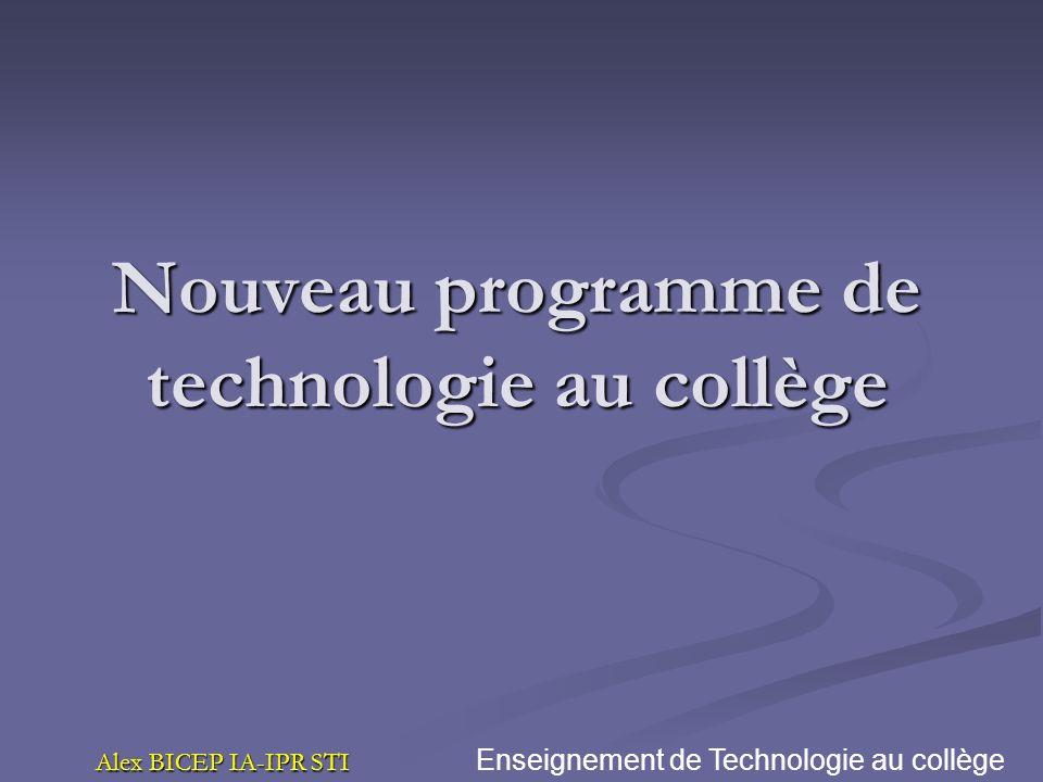 Nouveau programme de technologie au collège