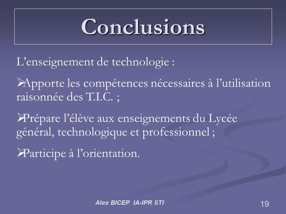 Conclusions L'enseignement de technologie :