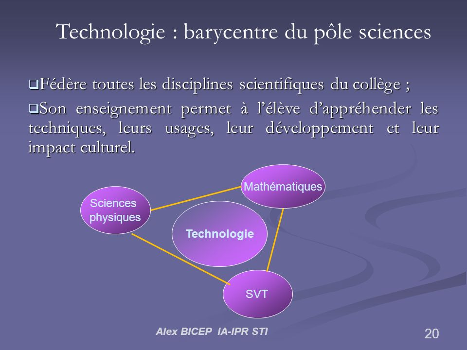 Technologie : barycentre du pôle sciences