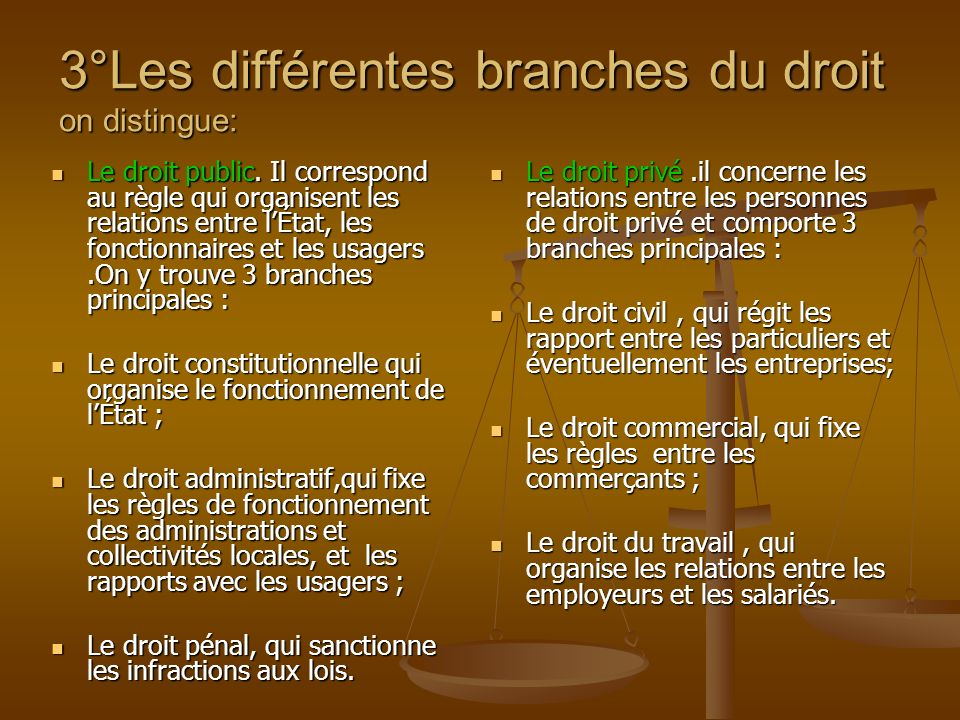 3°Les différentes branches du droit on distingue: