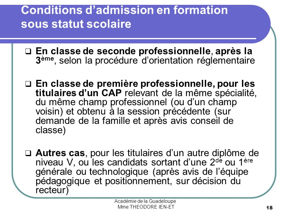 Conditions d'admission en formation sous statut scolaire