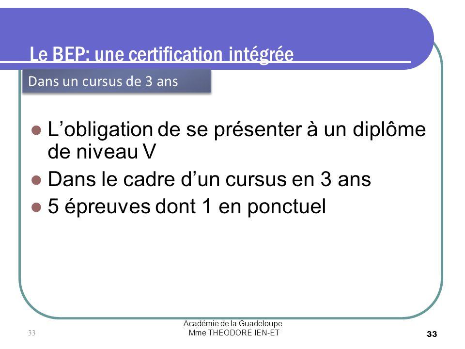 Le BEP: une certification intégrée