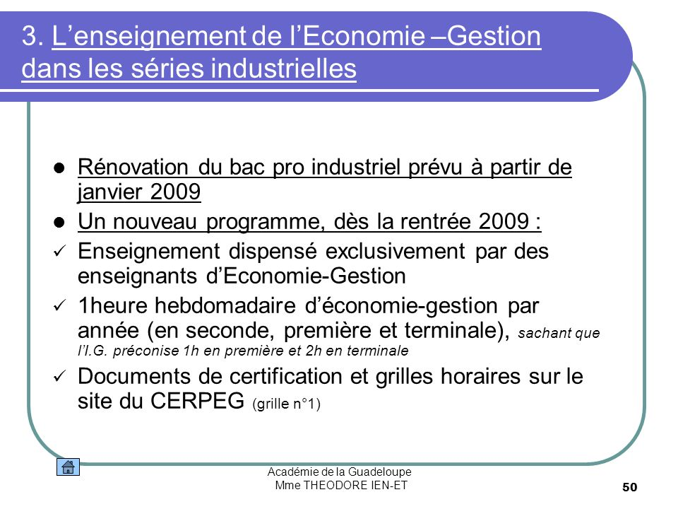 3. L'enseignement de l'Economie –Gestion dans les séries industrielles