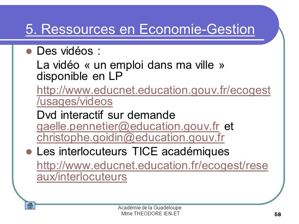 5. Ressources en Economie-Gestion