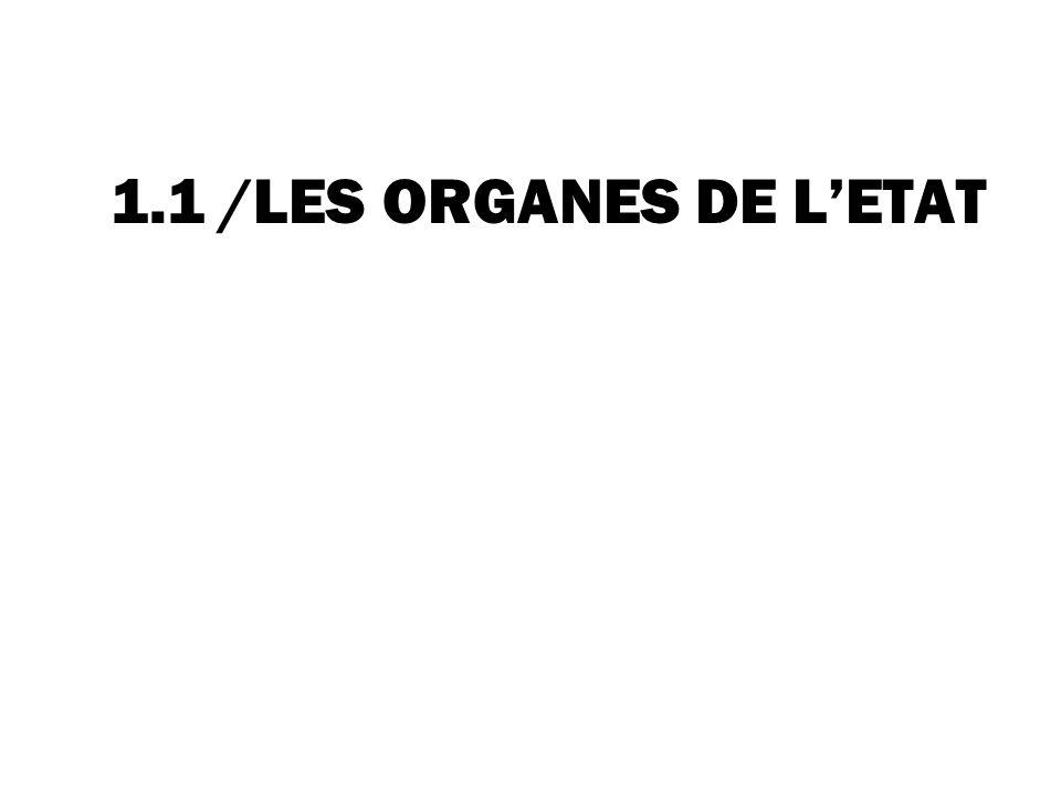 1.1 /LES ORGANES DE L'ETAT