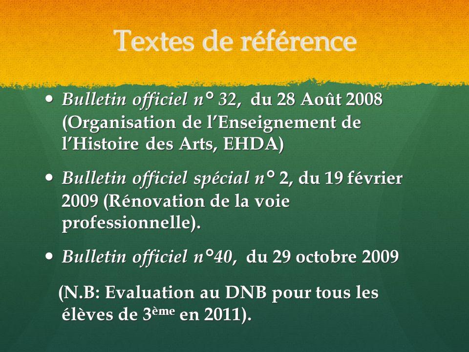 Textes de référence Bulletin officiel n° 32, du 28 Août 2008 (Organisation de l'Enseignement de l'Histoire des Arts, EHDA)