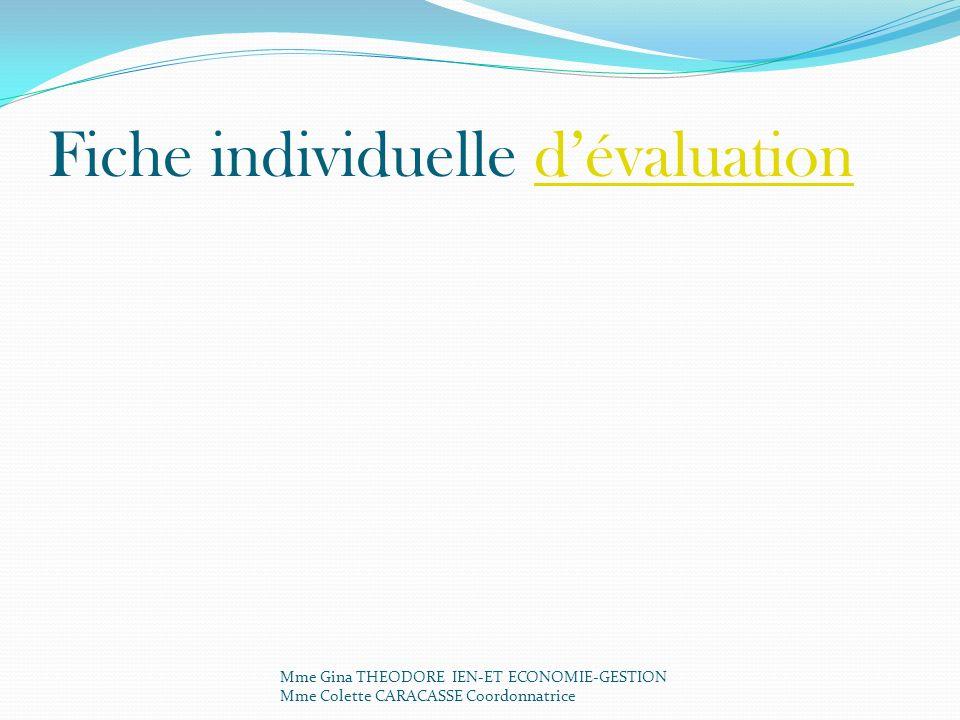 Fiche individuelle d'évaluation