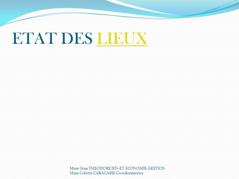 ETAT DES LIEUX Mme Gina THEODORE IEN-ET ECONOMIE-GESTION Mme Colette CARACASSE Coordonnatrice.