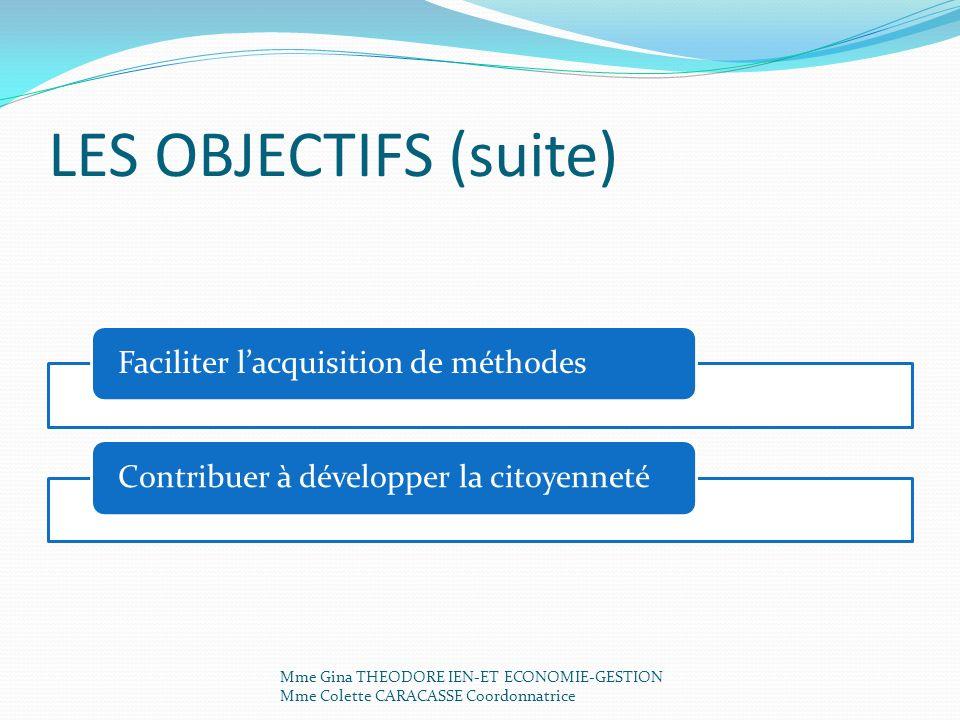 LES OBJECTIFS (suite) Faciliter l'acquisition de méthodes