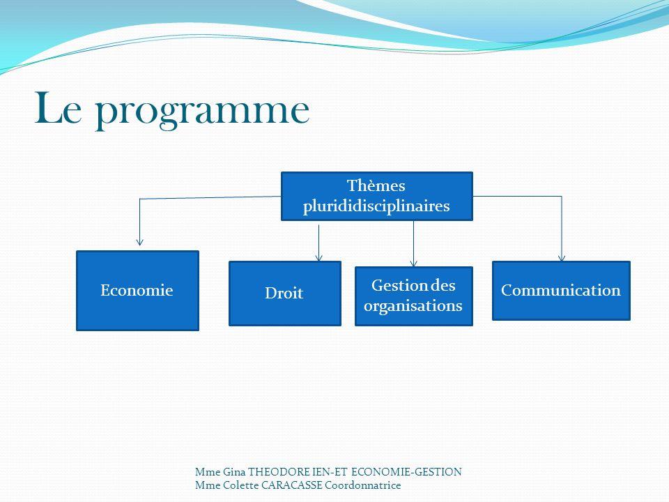 Le programme Thèmes plurididisciplinaires Economie Droit