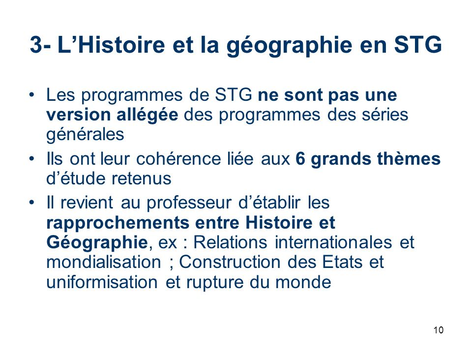 3- L'Histoire et la géographie en STG