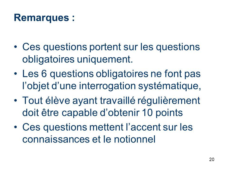 Remarques : Ces questions portent sur les questions obligatoires uniquement.