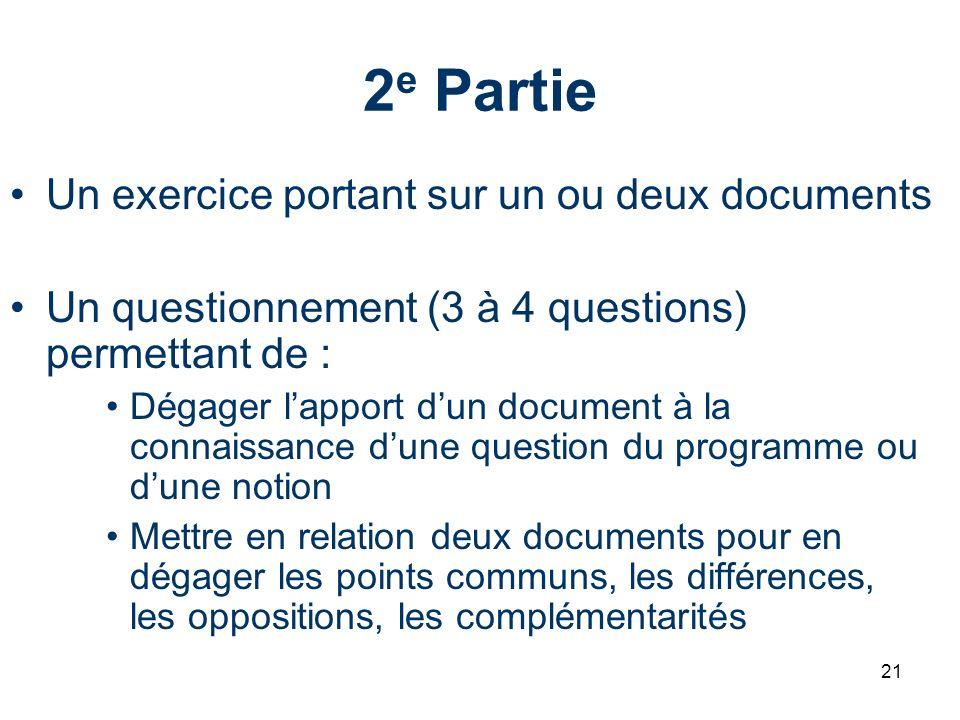 2e Partie Un exercice portant sur un ou deux documents