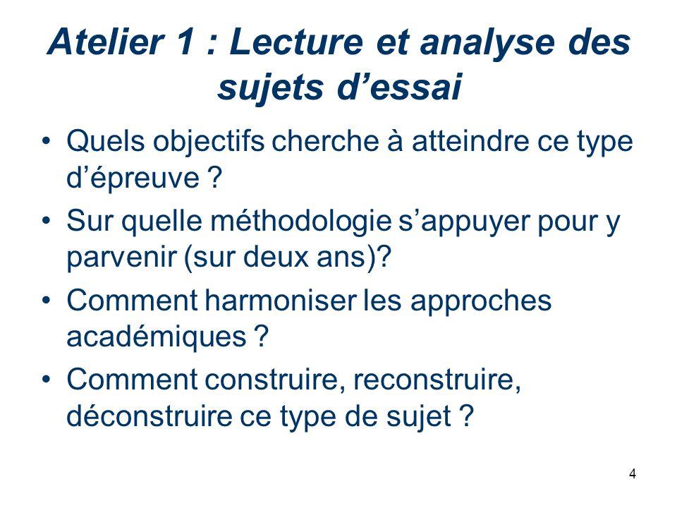 Atelier 1 : Lecture et analyse des sujets d'essai