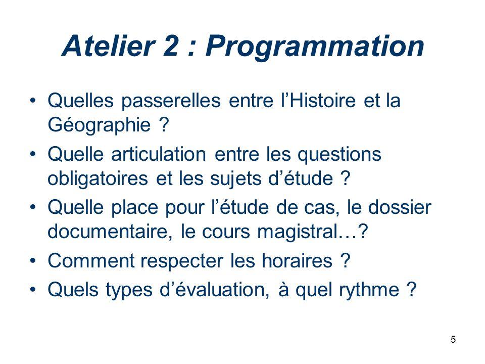 Atelier 2 : Programmation