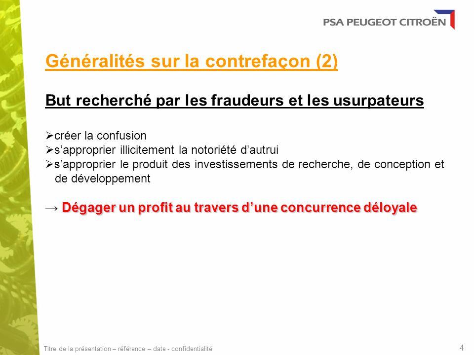 Généralités sur la contrefaçon (2)