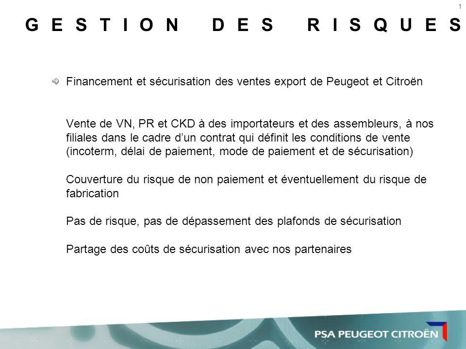GESTION DES RISQUES Financement et sécurisation des ventes export de Peugeot et Citroën.