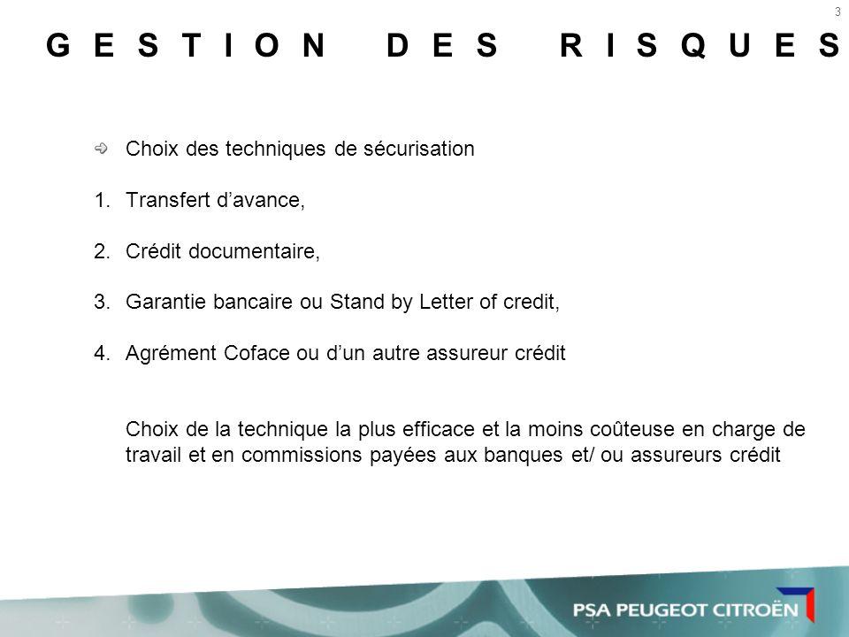 GESTION DES RISQUES Choix des techniques de sécurisation