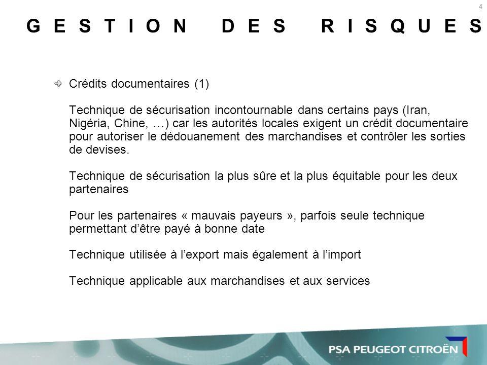 GESTION DES RISQUES Crédits documentaires (1)