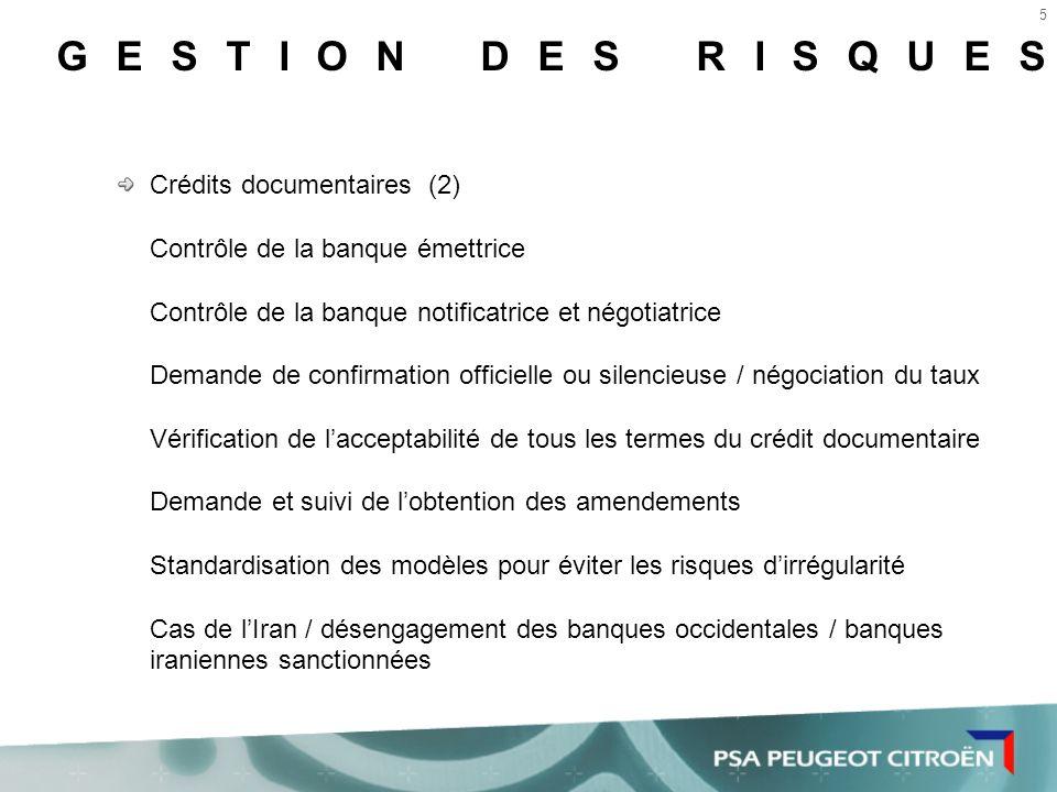 GESTION DES RISQUES Crédits documentaires (2)