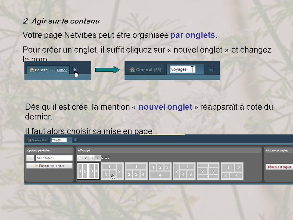 Votre page Netvibes peut être organisée par onglets.