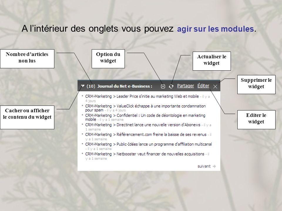 Nombre d'articles non lus Cacher ou afficher le contenu du widget