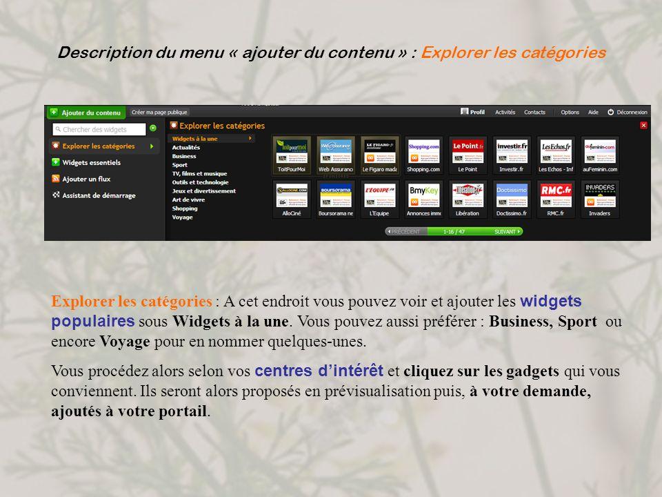 Description du menu « ajouter du contenu » : Explorer les catégories