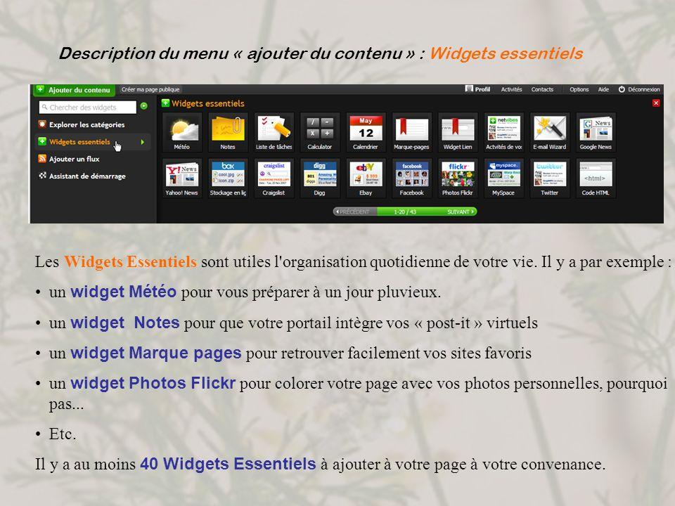 Description du menu « ajouter du contenu » : Widgets essentiels