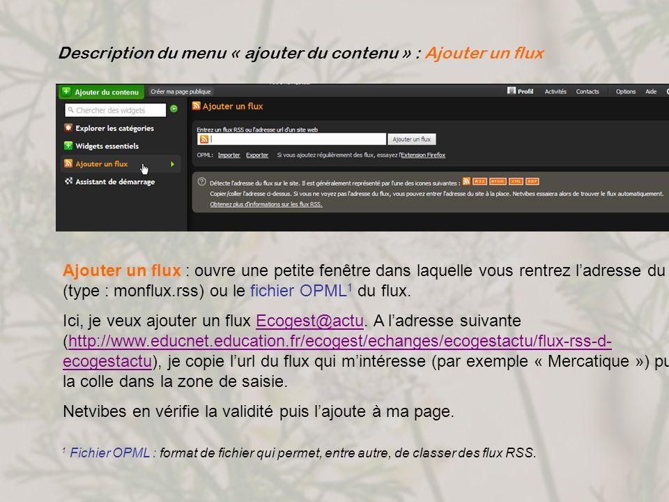 Description du menu « ajouter du contenu » : Ajouter un flux