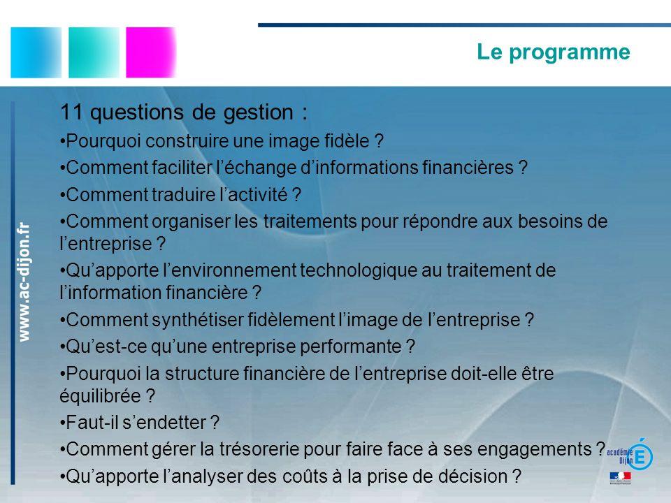 Le programme 11 questions de gestion :
