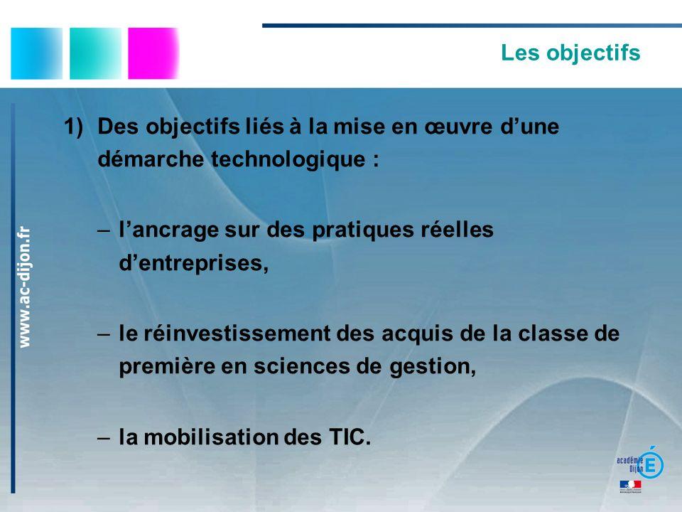 Des objectifs liés à la mise en œuvre d'une démarche technologique :