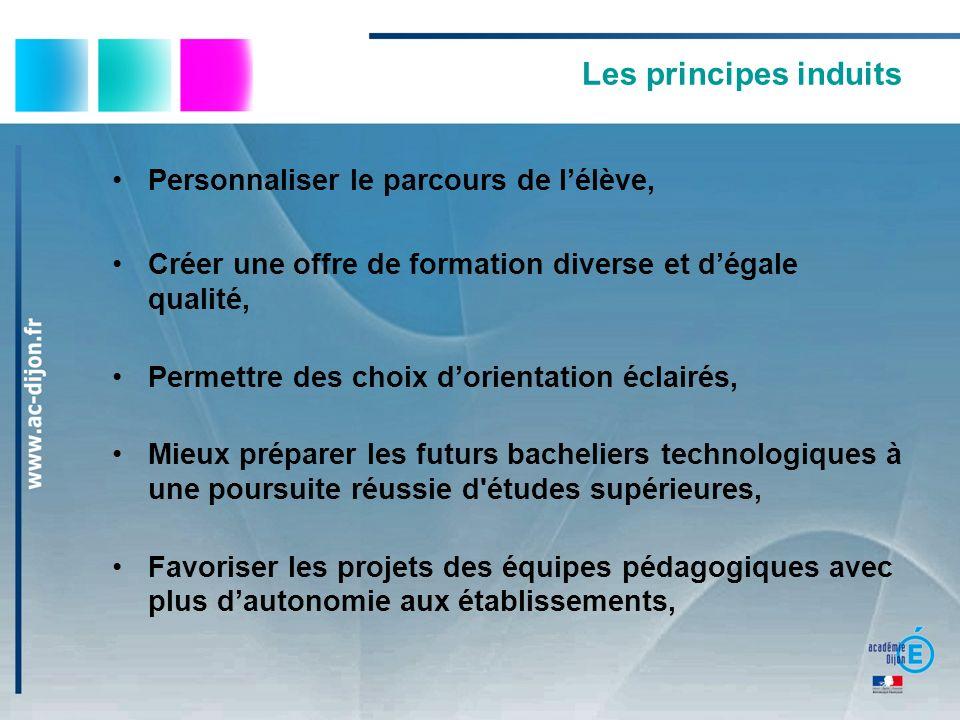 Les principes induits Personnaliser le parcours de l'élève,
