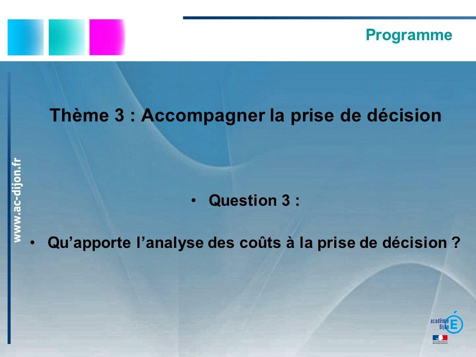 Thème 3 : Accompagner la prise de décision