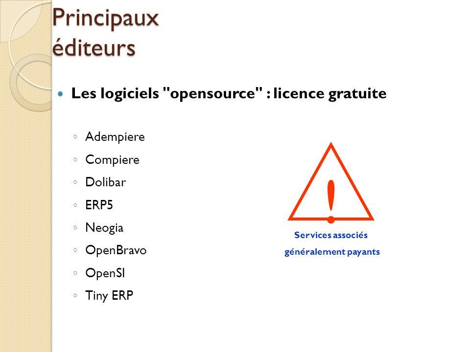 ! Principaux éditeurs Les logiciels opensource : licence gratuite