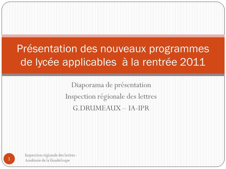 Présentation des nouveaux programmes de lycée applicables à la rentrée 2011