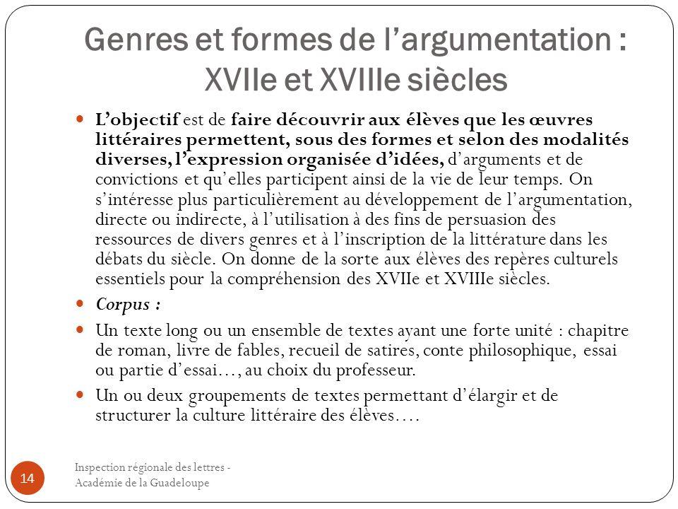 Genres et formes de l'argumentation : XVIIe et XVIIIe siècles