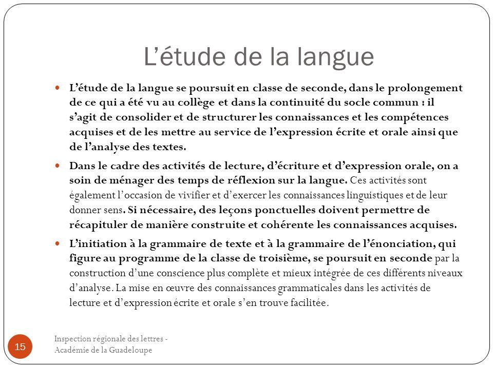 L'étude de la langue