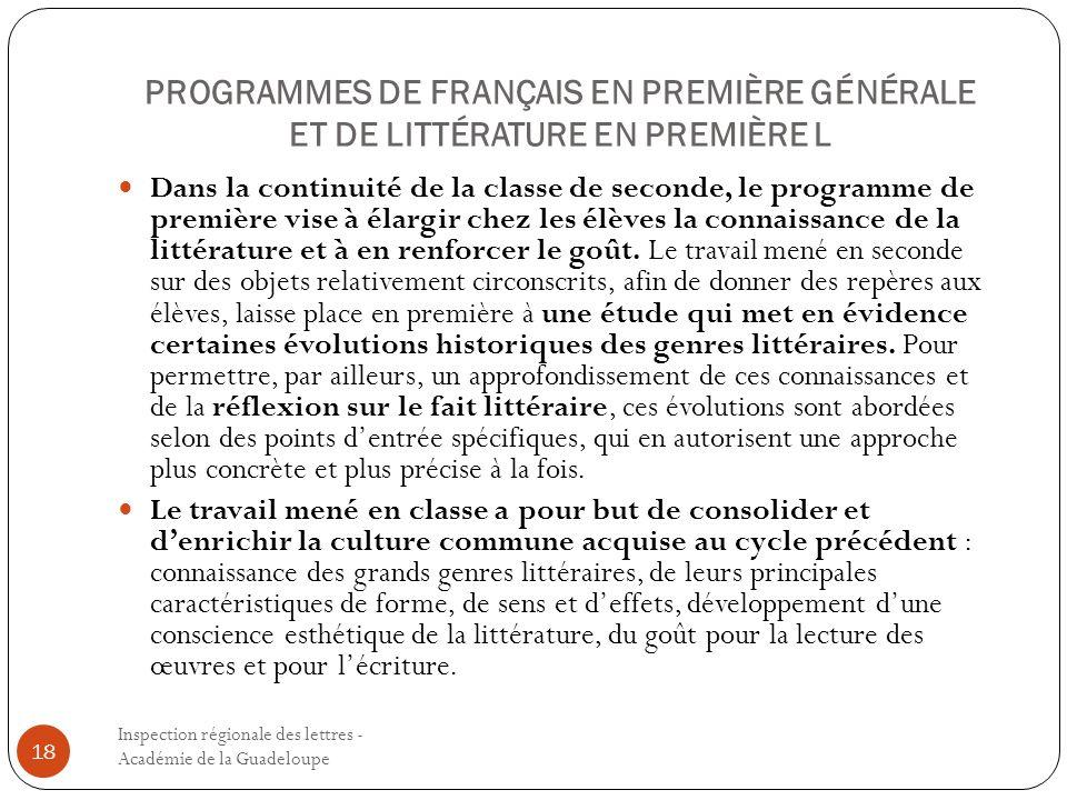 PROGRAMMES DE FRANÇAIS EN PREMIÈRE GÉNÉRALE ET DE LITTÉRATURE EN PREMIÈRE L
