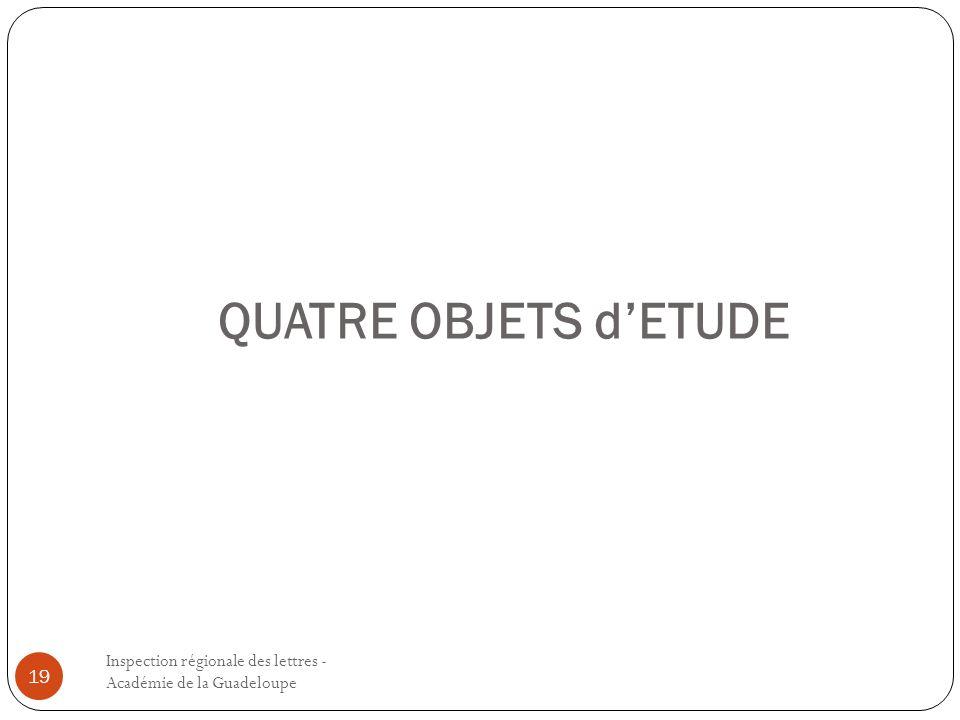 QUATRE OBJETS d'ETUDE Inspection régionale des lettres - Académie de la Guadeloupe.