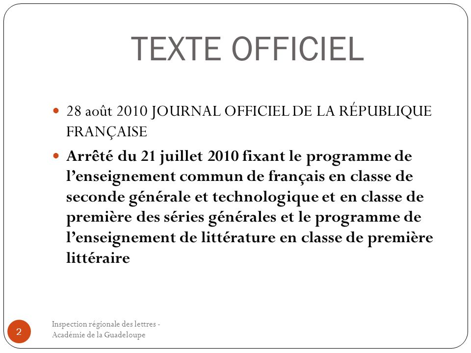 TEXTE OFFICIEL 28 août 2010 JOURNAL OFFICIEL DE LA RÉPUBLIQUE FRANÇAISE.