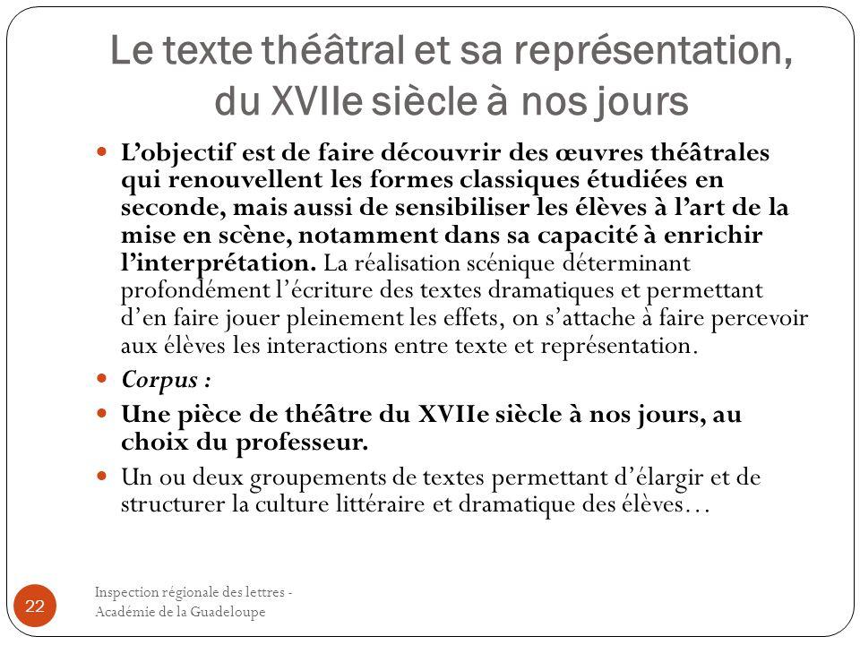 Le texte théâtral et sa représentation, du XVIIe siècle à nos jours
