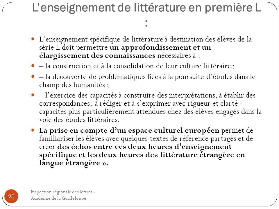 L'enseignement de littérature en première L :