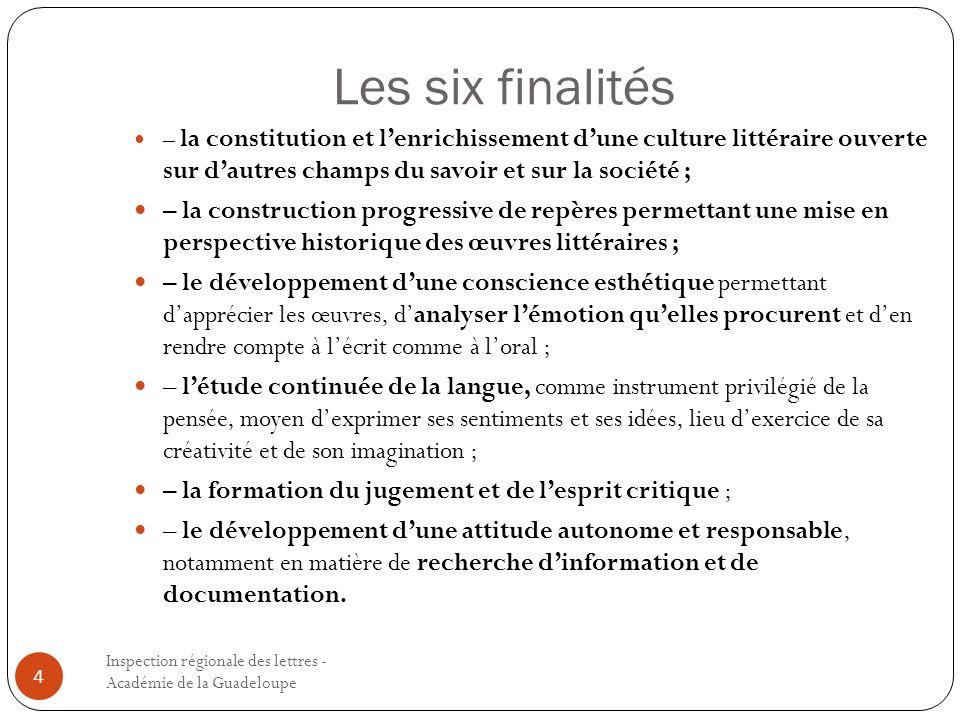 Les six finalités – la constitution et l'enrichissement d'une culture littéraire ouverte sur d'autres champs du savoir et sur la société ;