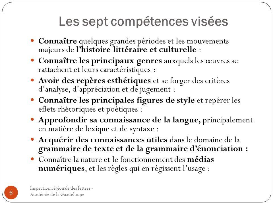 Les sept compétences visées