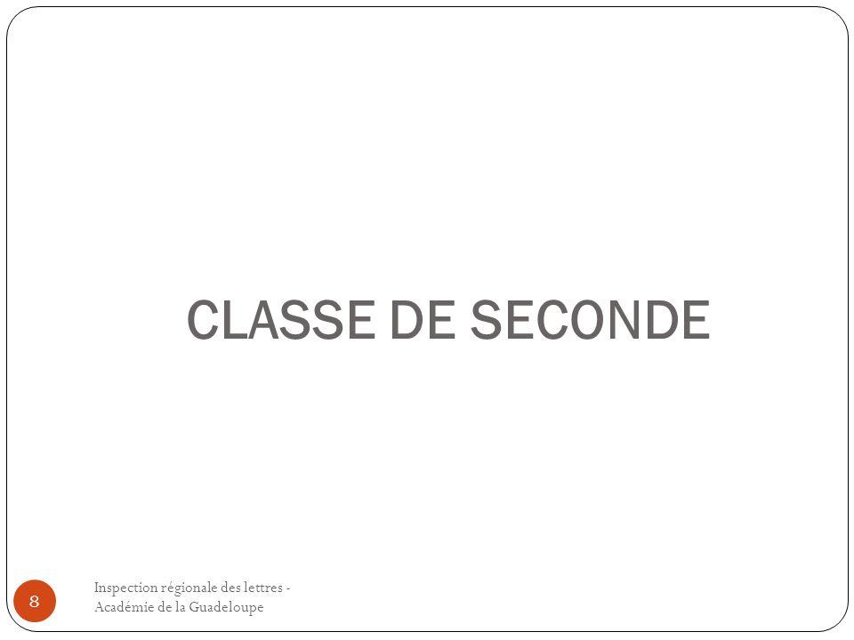 CLASSE DE SECONDE Inspection régionale des lettres - Académie de la Guadeloupe.