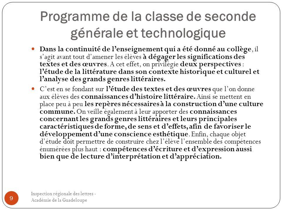 Programme de la classe de seconde générale et technologique