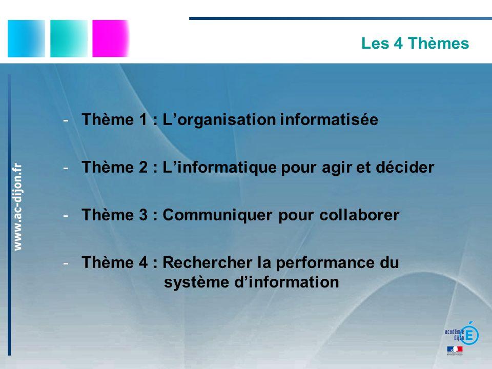 Les 4 Thèmes Thème 1 : L'organisation informatisée. Thème 2 : L'informatique pour agir et décider.