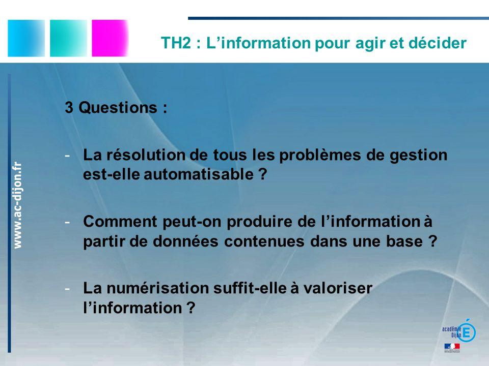 TH2 : L'information pour agir et décider