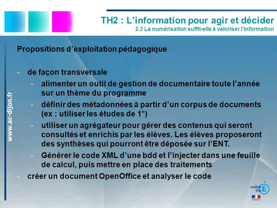 TH2 : L'information pour agir et décider 2