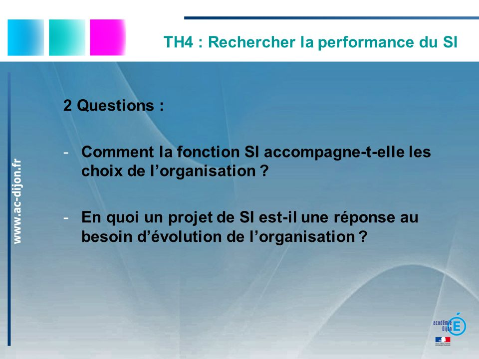 TH4 : Rechercher la performance du SI